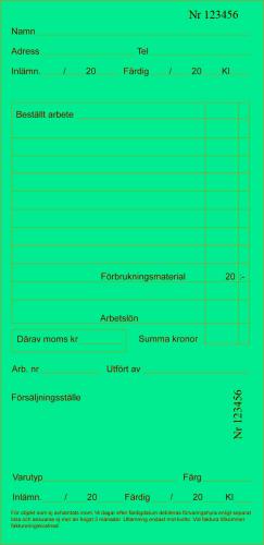 Arbetskort Grön 200 st/block